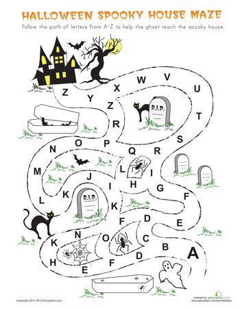 printable halloween maze worksheets halloween maze maze and worksheets on pinterest