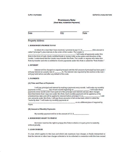 promissory note for personal loan template 10 loan promissory note templates free sle exle