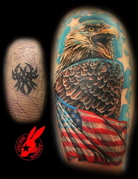 tattoo cover up eagle eagle flag tribal cover up tattoo by jackie rabbit by
