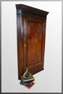 oak corner cupboard georgian inlaid wall cabinet