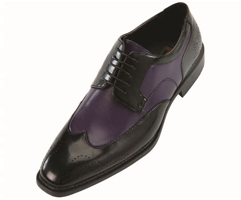 bolano mens black purple oxford two tone wingtip dress