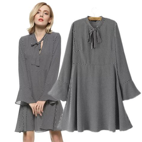 dot pattern clothes work office dress women 5xl plus size tops dot bow tie