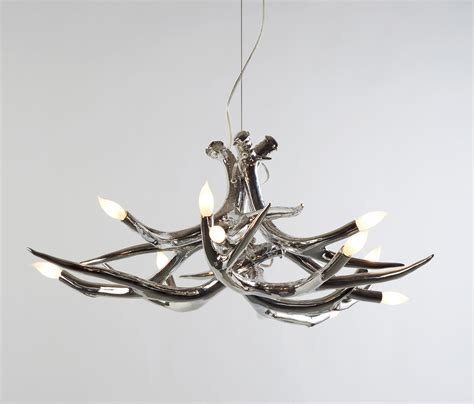Jason Miller Geweih Kronleuchter by Superordinate Antlers Chandelier 6 Antlers Chrome