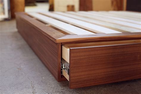 walnut bed  drawers offerman woodshop