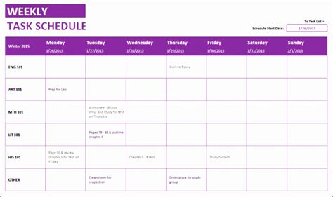 12 Weekly Schedule Excel Template Exceltemplates Exceltemplates Monthly Task Calendar Excel Template