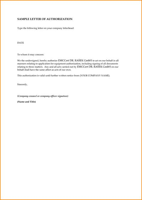 authorization letter template sle authorization letter how to format cover letter