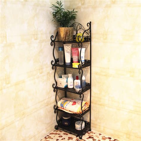 Wrought Iron Bathroom Shelves Bathroom Supplies Storage Rack Basin Rack Corner Shelf Wrought Iron Floor Bathroom Shelf In
