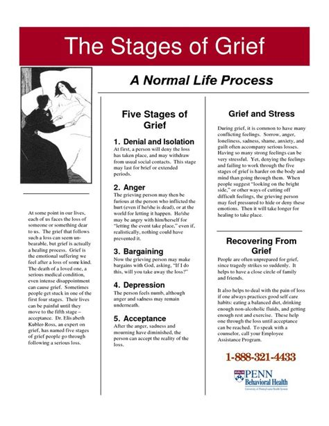 Grief And Loss Worksheets by Stages Of Grief Mental Health Infographics