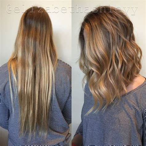 long hair to long wavy bob before and after pics wavy angled lob www pixshark com images galleries with