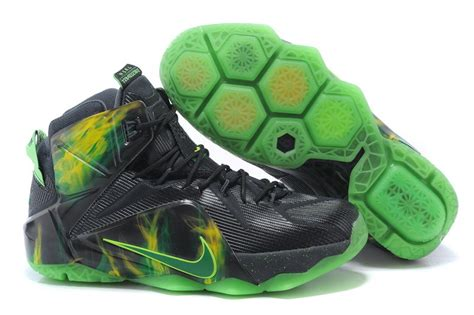 cheap lebron basketball shoes cheap nike lebron 12 black electric green basketball shoes