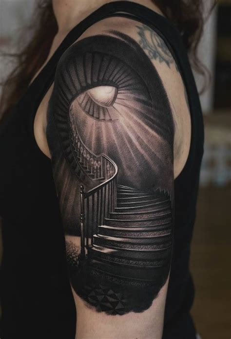 black and grey realistic tattoo from denis sivak sake
