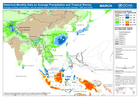 asia pacific region historical monthly climate data