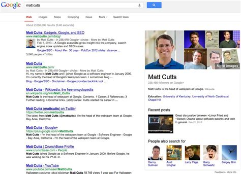 Goggle Search Microsoft Showing Authorship Like