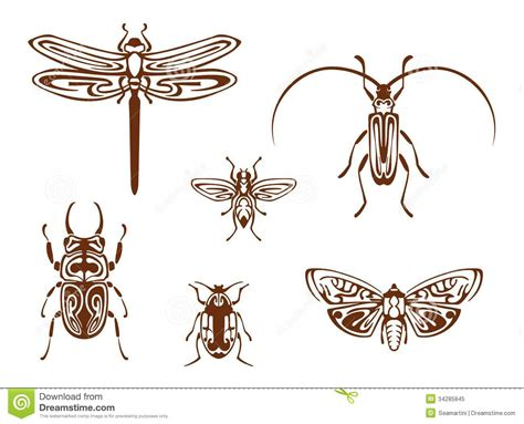insects in tribal ornamental style royalty free stock