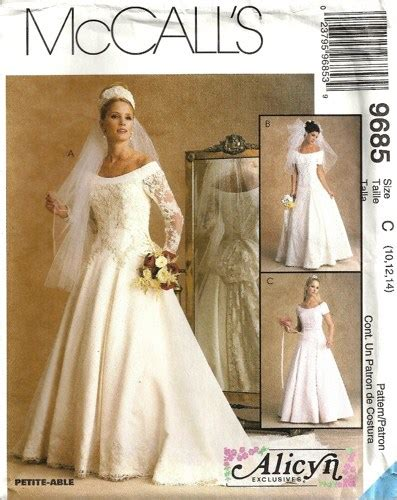 pattern drafting wedding gown mccalls 9685 misses wedding gown dress sewing pattern