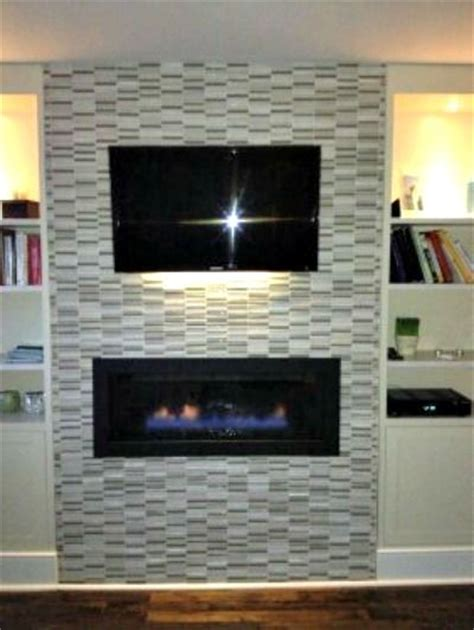 Glass Mosaic Fireplace Surround by Glass Mosaic Tiled Fireplace Surround With Wall Mounted T