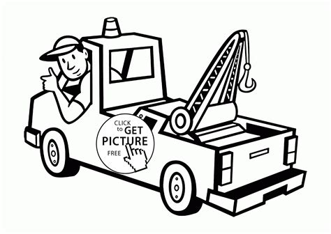 tow truck coloring page printout tow truck and driver coloring page for toddlers