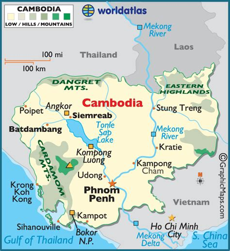5 themes of geography cambodia cambodia large color map