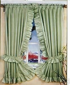 Priscilla Kitchen Curtains Green Ruffled Priscilla Fabric Window Curtain Home Kitchen