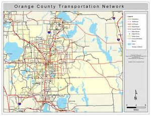 Map Of Orange County Florida by Orange County Road Network Color 2009