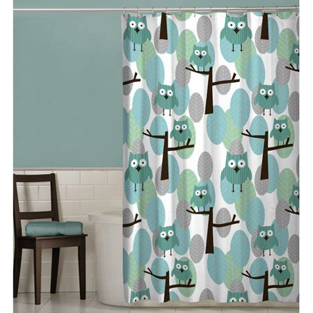 owl shower curtain maytex owl fabric shower curtain walmart
