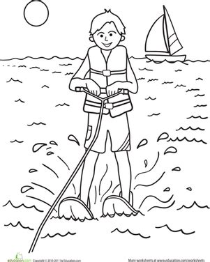 water treatment coloring page color the water skier worksheet education com