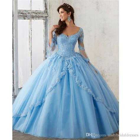 long sleeve sky blue ball gown quinceanera dresses  neck