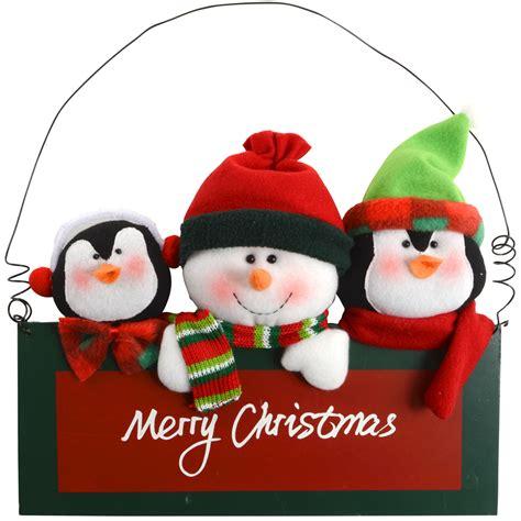 merry christmas plush snowman penguins wooden wall decoration
