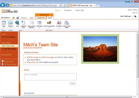 Office 365 Team Site Getting Started With Office 365 Part 2 Biztech