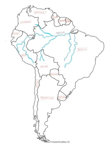 south america map rivers river map south america