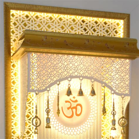 corian temple corian mandir for home with cabinet storage space