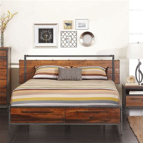 wood and metal bed insigna queen bed modern beds other metro by