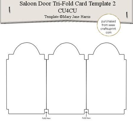 free fold it flower card template saloon door tri fold card template 2 cu4cu cup291566