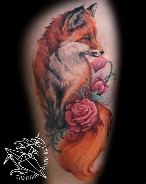 watercolor fox thigh piece by christina walker tattoos