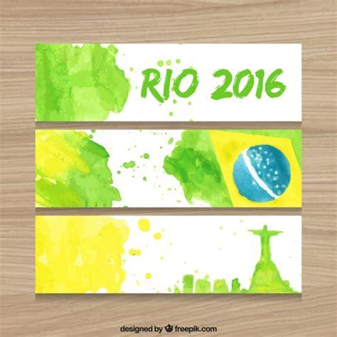 jogos do brasil jogo do brasil 2016 banners em efeito de aquarela baixar
