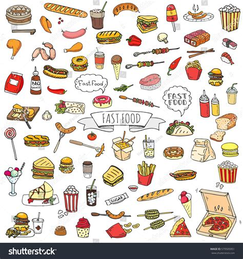doodle food icons doodle fast food icons stock vector 579505951