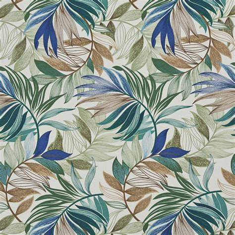 tropical upholstery aqua brown and beige tropical beach oasis leaf themed