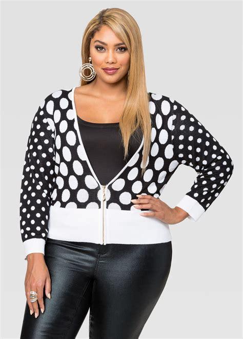 Cardigan Polkadot polka dot zip front cardigan plus size sweaters stewart