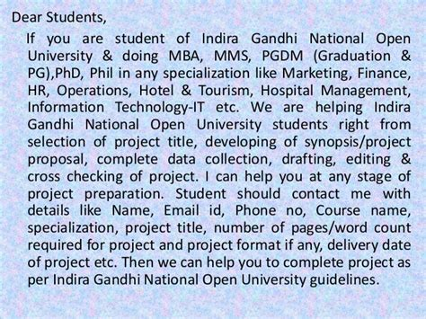 National Open College Mba by Mba Project Report Of Indira Gandhi National Open