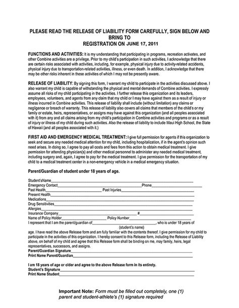 volunteer waiver form template driver liability waiver form