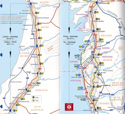 camino portuguã s lisbon porto santiago central and coastal routes books wandelkaart pelgrimsroute camino portugues maps
