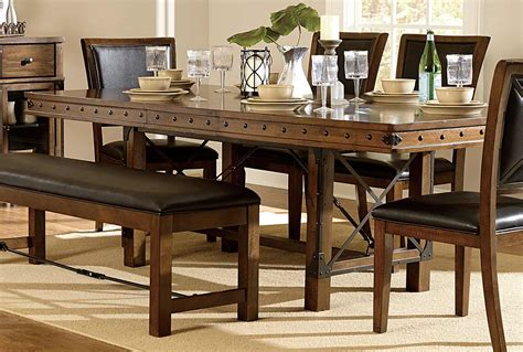 homelegance urbana trestle dining table burnished brown