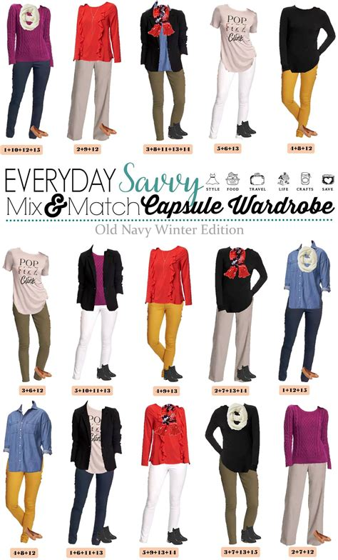 capsule wardrobe for retired women mix match winter outfits from old navy mini capsule