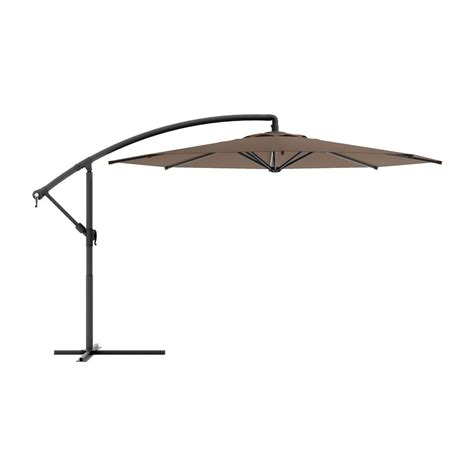 11 Offset Patio Umbrella Shop Corliving Corliving Brown Offset Patio Umbrella With Base Common 9 5 Ft W X 11 Ft L
