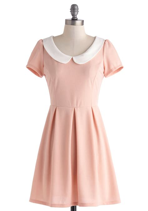 light blue collared dress record dress in petal pink