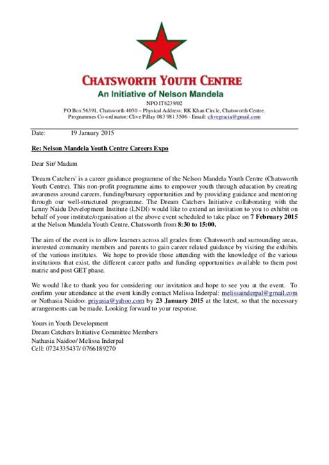 Invitation Letter For Youth Day Invitation Letter To Careers Expo 2015