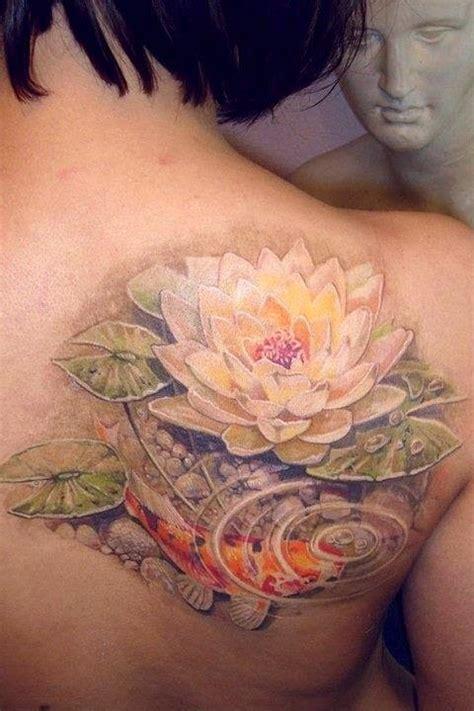 lotus tattoo shoulder blade lovely koi fish and lotus tattoo on shoulder blade