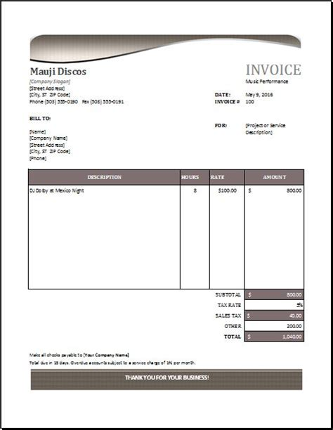 band invoice template performance invoice at http www