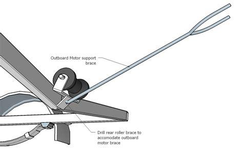 outboard motor support bracket trailer sauce rear keel roller setup