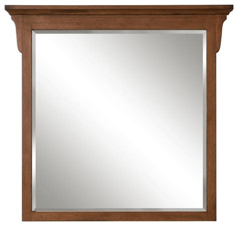 mission oak framed beveled mirror traditional bathroom